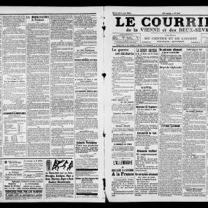 Le Courrier de la Vienne et des Deux-Sèvres, 5 août 1914. (Archives départementales de la Vienne/ Médiathèque François Mitterrand (Poitiers), image publiée avec autorisation.)
