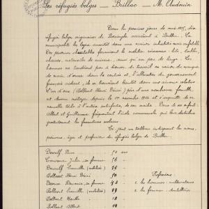 Les réfugiés belges à Brillac en Charente, d'après les carnets d'instituteurs de Charente. (Archives départementales de la Charente 4 Tp 478. - www.archives16.fr)