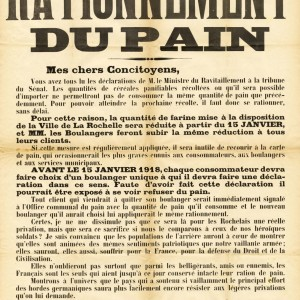 Affiche sur le rationnement du pain dans la ville de La Rochelle. (Archives municipales de La Rochelle 2Fi 6407. )