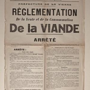 Arrêté du préfet de la Vienne réglementant la consommation de viande, 1917. (Archives départementales de la Vienne 6 M 90.)