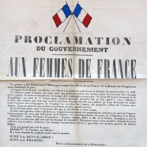 L'appel de Viviani aux femmes de France, invitées à remplacer les hommes au travail dans les champs. (Archives départementales des Deux-Sèvres R 202.)