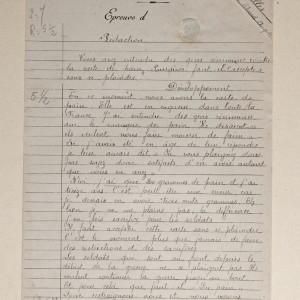 Épreuve de rédaction à l'examen du Certificat d'Études Primaires Élémentaires de 1918 (Archives départementales de la Vienne 3 T 393.)