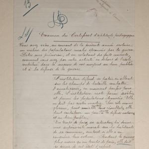 Épreuve d'examen du Certificat d'Aptitude Pédagogique. (Archives départementales de la Vienne 3 T 393.)