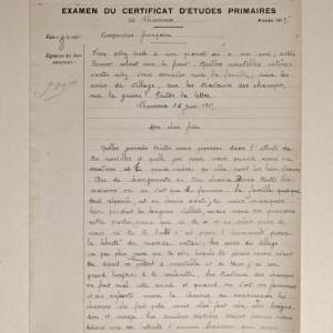 Composition française à l'examen du Certificat d'Études primaires de Charroux, en 1915. (Archives départementales de la Vienne 3 T 393.)