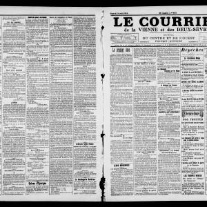 Le Courrier de la Vienne et des Deux-Sèvres, du 8 août 1914. (Archives départementales de la Vienne/ Médiathèque François Mitterrand, Poitiers, image publiée avec autorisation. )
