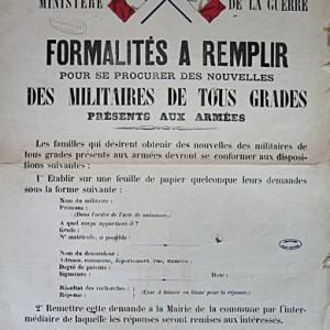 Formalités à remplir par les populations pour recevoir des nouvelles du front. (Archives départementales des Deux-Sèvres R 202.)