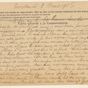 Carte du 3 mars 1916 de Georges Brosset à ses oncle et tante. (Collection particulière.)