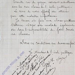 La grippe espagnole touche les élèves et le personnel des écoles des Deux-Sèvres, qui sont obligées de fermer. Lettre du directeur de l'école de garçons de Coulonges-sur-l'Autize à l'inspecteur. (Archives départementales des Deux-Sèvres, 5 M 34.)