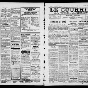 Le courrier de la Vienne et des Deux-Sèvres, des 11 et 12 novembre 1918. (Archives départementales de la Vienne/ Médiathèque François Mitterrand, Poitiers, image publiée avec autorisation. )