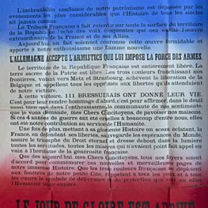 Affiche de l'appel du maire de Bressuire pour célébrer l'Armistice. (Archives départementales des Deux-Sèvres, R 202.)