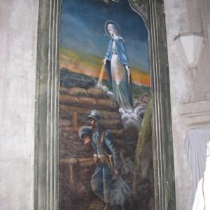 Toile peinte en 1916, par J. Blourde, dans l'église de Saint-Sauvant dans la Vienne. (Région Poitou-Charentes, inventaire du patrimoine culturel / T. Allard.)