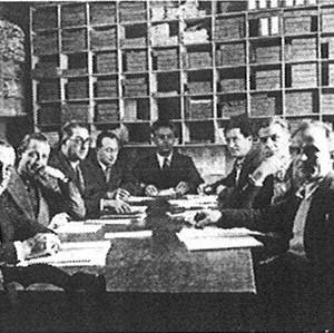 Conseil d'administration de la MAAIF au moment de la création de cette dernière, en 1934. Archives de la MAIF.