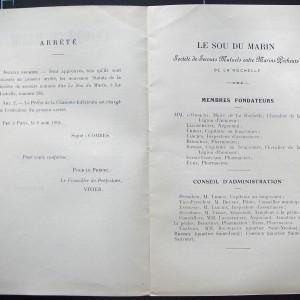 Publication des nouveaux statuts de la Société «Le sou du marin», 1904. Cette Société, créée en 1897 et soutenue financièrement par la mairie de La Rochelle, apporte une aide médicale et alimentaire aux familles de pêcheurs. Archives municipales de La Rochelle, 5 Q 14.
