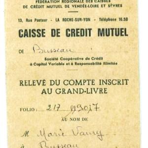 Carnet de relevé de compte d'une caisse de Crédit mutuel, vers 1970. Archives privées.