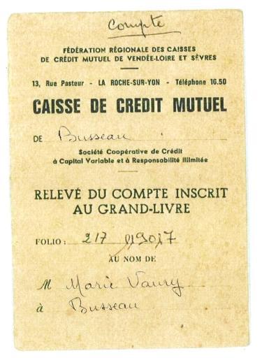 Carnet De Relevé De Compte D Une Caisse De Crédit Mutuel