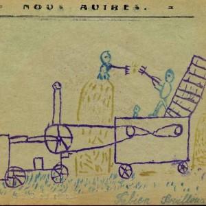 """Dessin de Fabien Fouilloux de la classe de Mlle Lucquiaud, à Millac. Dans la revue """"Nous autres"""", 1930."""