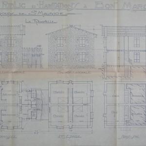 Plans et élévations de logements de l'Office public d'habitation à bon marché de La Rochelle. Créé en 1913, il s'agit de l'un des premiers offices d'HBM publics. Archives municipales de La Rochelle, 16 W 43.