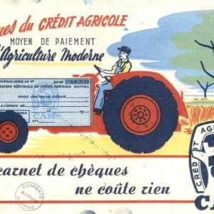 Buvard publicitaire représentant un chèque du Crédit agricole, vers 1950. Archives départementales de la Charente-Maritime, 71 Fi 61.